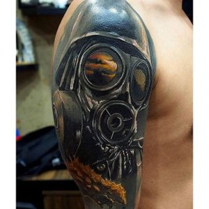 Gas mask cover up tattoo by Kobay Kronik. #realism #colorrealism #gasmask #coverup #KobayKronik