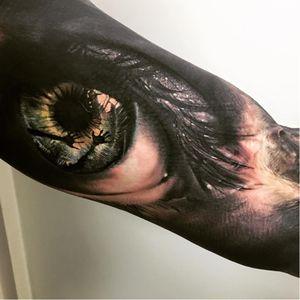 Creepy eye tattoo #SandryRiffard #blackandgrey #realism #realistic #eye #horror