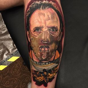 Hannibal Lecter Tattoo by Alex Rattray #HannibalLecter #Portrait #ColorPortrait #ColorRealism #PopCulture #AlexRattray