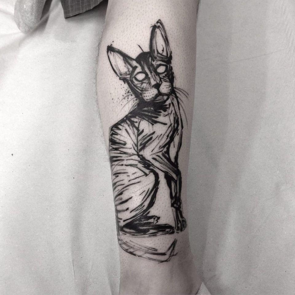 Gato por Alexandre Aske! #AlexandreAske #Ttatuadoresbrasileiros #tatuadoresdobrasil #tattoobr #tattoodobr #sketchtattoos #sketch #cat #gato