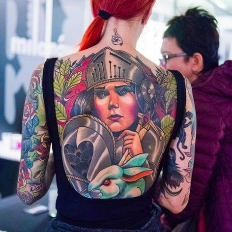 Stunning back tattoo, photo by Kamila Burzymowska #KamilaBurzymowska #backtattoo #back #warrior #woman #backpiece #photography