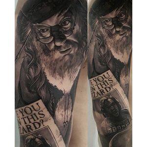 Work in progress #Dumbledore #tattoo by @gabripais. #Hogwarts #HarryPotter