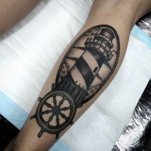 Lighthouse Tattoo by Joel Spiteri #lighthouse #neotraditional #blackwork #blackneotraditional #blackink #blackworkartist #JoelSpiteri