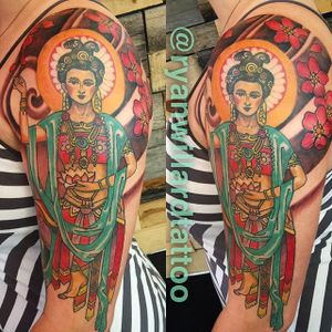 Kwan Yin the Goddess of the Compassion and Mercy. Tattoo by Ryan Willard. #neotraditional #goddess #buddhism #buddhisttattoo #KwanYin #RyanWillard