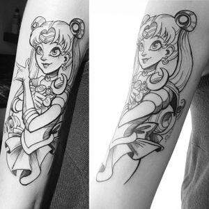 Sailor Moon tattoo by Fukari. #Fuki #Fukari #JudytaAnnaMurawska #sailormoon #anime