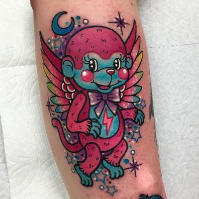 Tattoo by Roberto Euan #RobertoEuan #newtraditional #flyingmonkey #color #sparkle #glitter #stars #wings #feathers #monkey #cute #LightningBolt #bow #moon