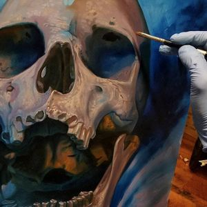 One of Christian Perez's oil paintings of a skull in progress (IG—christian1perez). #ChristianPerez #fineart #oilpaintings #skulls