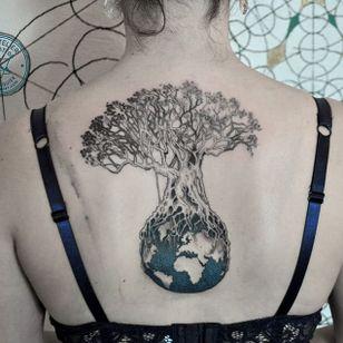Tree tattoo tattoo by Marie Roura #MarieRoura #graphic #spiritual #tree #earth