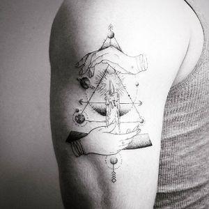 Fine line tattoo by Vitaly Kazantsev. #VitalyKazantsev #fineline #candle #geometric #hand