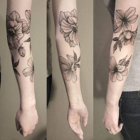Beautiful linework and dotwork flower tattoo #blackwork #linework #dotwork #flower #JuliaMikhaylova