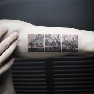 Perfect home landscape tattoo by Eva Krbdk #evakrbdk #landscapetattoo #blackandgrey #forest #cabin #house #architecture #trees #realism #realistic #tiny #details #watercolor #painterly #illustrative #tattoooftheday