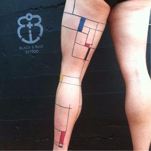 Mondrian inspired tattoo by Idexa Stern #IdexaStern #contemporary #abstract #graphic #mondrian #fineartinspired
