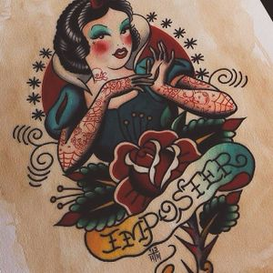 A flash art design of tattooed Disney's Snow White by Howlin' Wolf (IG—howlinwolftattoo). #flashart #HowlinWolf #pinup #SnowWhite #traditional
