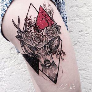 Fawn tattoo by Jessica Svartvit #geometric #deer #fawn #JessicaSvartvit