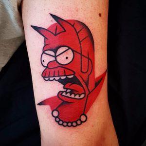 Angry Ned by Uve #Uve #Uvetattoo #red #newtraditional #NedFlanders #Simpsons #devil #demon #pearls #shape #linework #minimalist #tattoooftheday