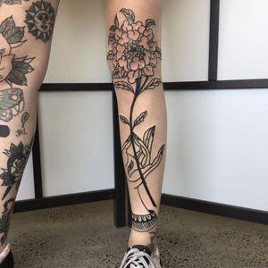 Mudra tattoo by Reece Saville #ReeceSaville #blacktraditional #blackwork #mudra #flower