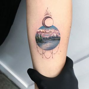 Eva Galapdede's (Instagram @evarkbdk) miniature color lanscapes accented by dot-work are utterly breathtaking. #color #dotwork #landscape #lake #miniature #moon #mountains #realism #trees