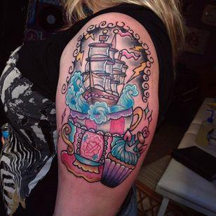Pinkwork storm in a teacup tattoo by Samantha Pixie Robson. #pinkwork #kawaii #girly #cute #SamanthaPixieRobson #storminateacup #teacup #storm #ship