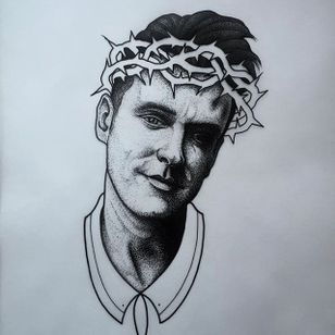 Morrissey. (via IG - daniel_kickflip_tattooer) #Portraits #Celebrities #Flash #Morrissey #TheSmiths