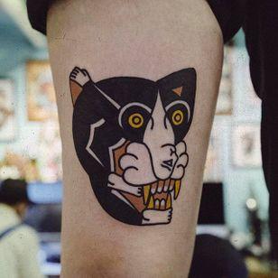 Two in One Cat and Lady Tattoo by Woo @Woo_Tattooer #WooTattooer #Seoul #Korea #TwoinOneTattoo #OpticalIllusion #OpticalIllusionTattoo #Cat #Lady