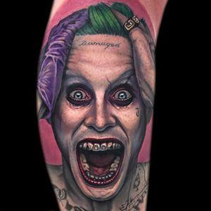 Joker Tattoo by Evan Olin #JaredLeto #Joker #JokerTattoos #SuicideSquad #Portrait #EvanOlin