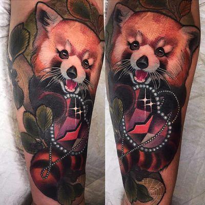 Happy red panda by Miryam Lumpini #MiryamLumpini #redpanda #neotraditional #heart #jewel #pearls #animal #nature #leaves #color #cute #tattoooftheday