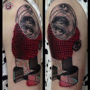 Black and red semi-abstract tattoo by Łukasz Sokołowski. #LukaszSokolowski #semiabstract #blackandred #abstract #graphic #conceptual