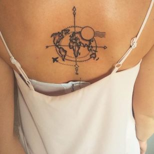 Love this delicate map tattoo by Magnum Circus Tattoo #magnumcircus #map #maptattoo #travel #world #design #blackwork #linework #compass #travel #plane