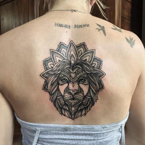 Ornate lion mandala tattoo #mandala #ishineve #lion #floral #ornate