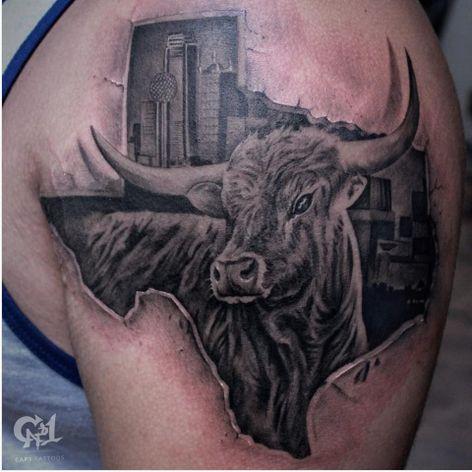 Hook 'em, 'Horns! (IG-@tattoosbycapone) #longhorntattoo #texaslonghorn #texas #texastattoo #blackandgreyrealism #realism #blackandgrey #blackandgreytattoo #realismtattoo #animaltattoo