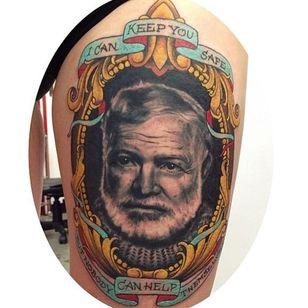 Hemingway by Megon Shoreclay (via IG -- ffom_tattoo) #megonshoreclay #ernest #ernesttattoo #hemingway #hemingwaytattoo