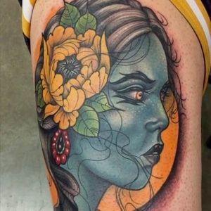 Neo-traditional lady by Ty Pallotta (via IG-goldenagetattoos) #austintexas #austin #atx #texas #CityGuides #austintattoos #tattooshops #neotraditional #goldenagetattoo #typallotta #color