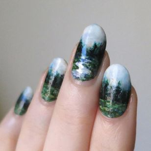 Forest stream by Lady Crappo (via IG-ladycrappo) #nailart #artist #art #forest #stream #landscape #ladycrappo