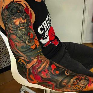 Intense looking neo traditional sleeve by Joe Frost #sleeve #sleevetattoo #JoeFrost #neotraditional