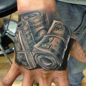 Hey! This guy likes money! (via IG -- weedandtattos) #money #moneytattoo
