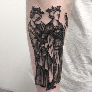 Medieval art inspired tattoo by Joel Rich #JoelRich #medievalart