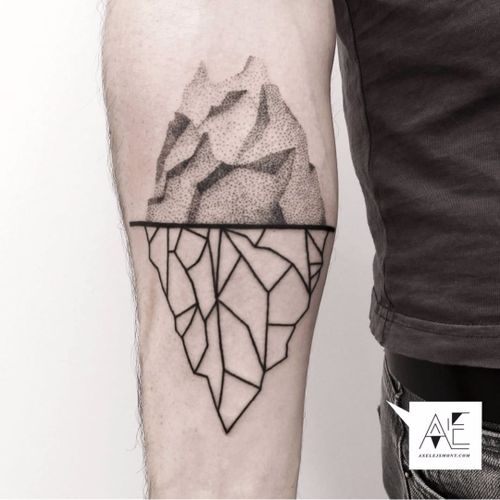 Iceberg tattoo by Axel Ejsmont. #AxelEjsmont #iceberg #blackwork #ice #mountain #arctic #geometric #dotwork