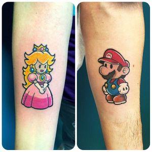 Mario Tattoo by Giovanna Raso #matchingtattoos #couplestattoos #couple #GiovannaRaso