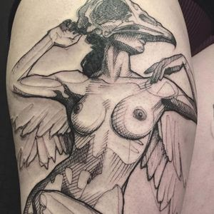 Sketchy, illustrative tattoo, by L'oiseau (via IG—loiseautattoo) #Sketchy #Illustrative #Blackwork #Loiseau
