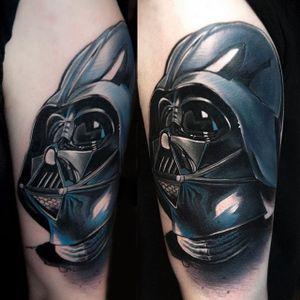 Darth Vader Tattoo by Pawel Skarbowski #darthvader #realism #abstractrealism #colorrealism #blackandgreyrealism #PawelSkarbowski