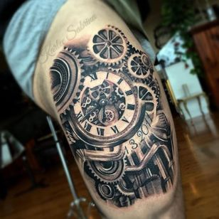 Clock and cogs realism tattoo by Karlee Sabrina. #realism #blackandgrey #clock #cogs #KarleeSabrina