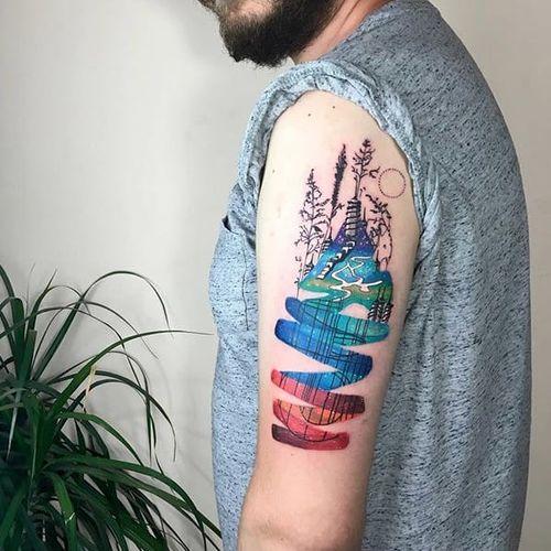Conceptual tattoo by Gülşah Karaca. #GulsahKaraca #illustrative #graphic #technicolor #trippy