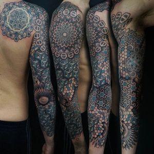 Tattoo by Manuel Zellkern #geometric #geometrictattoo #geometrictattoos #dotwork #patternworksleeve #pattern #patterntattoo #ManuelZellkern