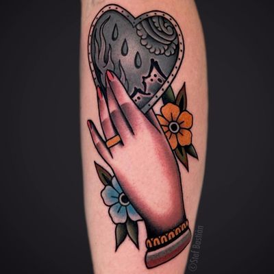 The Four Elements by Stef Bastian #StefBastian #traditional #color #heart #fourelements #flowers #leaves #nature #hand #ring #valentine #fire #air #earth #water #tattoooftheday