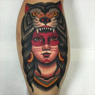 Native girl traditional tattoo by @jacobdoneytattoo #jacobdoneytattoo #traditional #nativegirl #traditionaltattoo #envisiontattoostudio