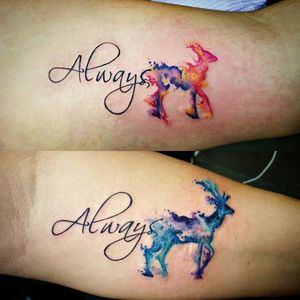 Beautiful watercolor stag and doe couple tattoos by @_glitterpoops on Instagram #coupletattoo #coupletattoos #matchingtattoos #romantic #tattooedcouple #lovetattoos #doe #stag #animals #watercolor