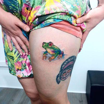 #ClaudinhoAmorelli #tatuadoresdobrasil #coloridas #colorful #sketch #aquarela #watercolor #sapo #frog