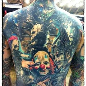 Slipknot is by far Iowa's largest cultural export. Backpiece by Casey Anderson (via IG -- caseyandersontattoos) #caseyanderson #slipknot #iowa