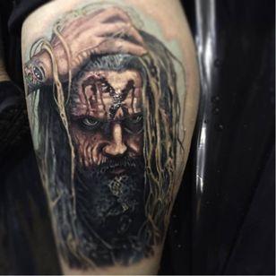 Stunning Rob Zombie tattoo by Paul Acker #robzombie #PaulAcker #metal #musician #horrormovies #realistic #portrait