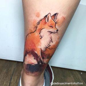 Fox Tattoo by Dell Nascimento #fox #watercolor #watercolorartist #contemporary #DellNascimento